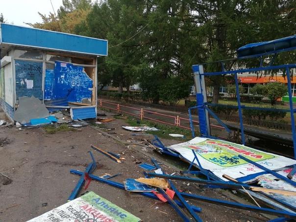 Кто-то в Каменске-Уральском разнёс всю остановку