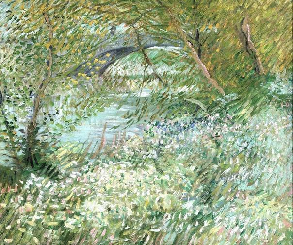 «Берег реки весной», Винсент Ван Гог 1887г. Холст, масло. Размер: 48.2 x 57.1 см. Музей искусств Далласа, Даллас Светлые, чистые тона и свободные мазки на этой картине берега Сены характеризуют