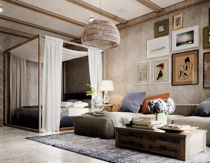 Какой способ зонирования комнаты больше нравится: 1 (раздвижной перегородкой) или 2 (балдахином)?