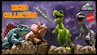 Mattel Jurassic World Micro Collection Review!!! Dimetrodon! T. Rex! Blue! Triceratops!