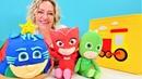 PJ Maskeliler ile oyun videosu Sihirli kutu Kedi çocuk için doğum günü pastası!