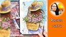 Рисуем акварельный скетч с девушкой и пионами! Dari Art