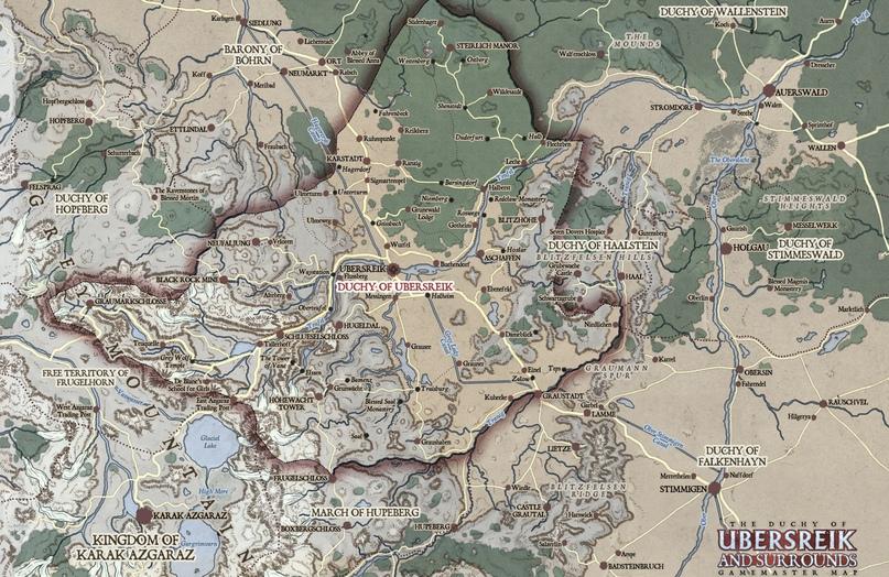 Самая полная карта окрестностей Убершрайка. Бретонния — на запад от Граумаркшлоссе.