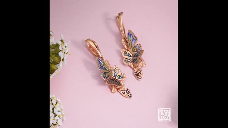 Золотые бабочки серьги от ПЛАТИНА