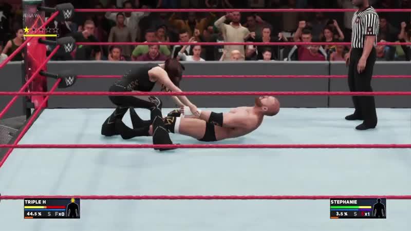 Intergender match Triple H vs Stephanie McMahon WWE 2K18 on PS4
